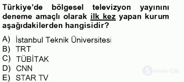 Medya Sosyolojisi Tek Ders Sınavı 9. Soru