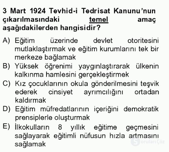 Türkiye'nin Toplumsal Yapısı Tek Ders Sınavı 10. Soru