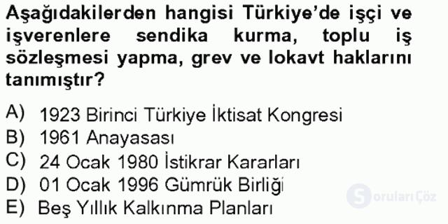Türkiye'nin Toplumsal Yapısı Tek Ders Sınavı 13. Soru