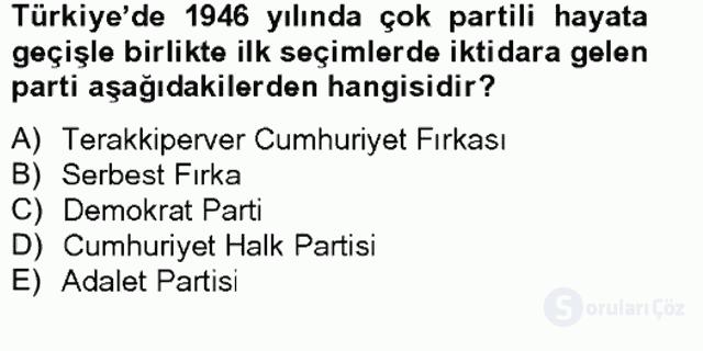 Türkiye'nin Toplumsal Yapısı Tek Ders Sınavı 16. Soru