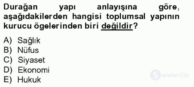 Türkiye'nin Toplumsal Yapısı Tek Ders Sınavı 3. Soru