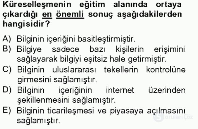 Türkiye'nin Toplumsal Yapısı Tek Ders Sınavı 8. Soru