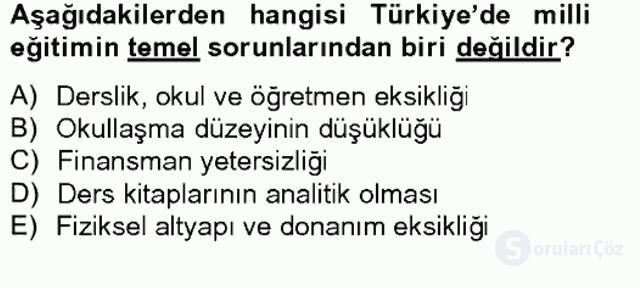 Türkiye'nin Toplumsal Yapısı Tek Ders Sınavı 9. Soru