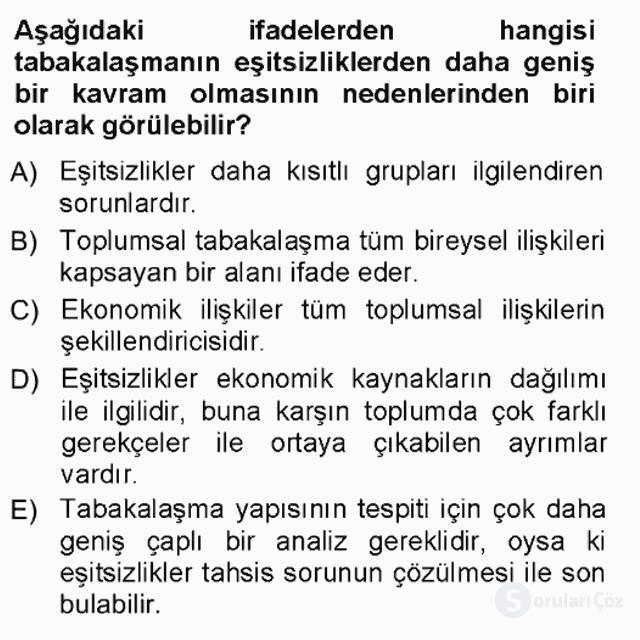 Çalışma Sosyolojisi Tek Ders Sınavı 10. Soru