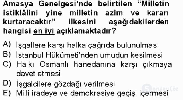 Atatürk İlkeleri ve İnkılap Tarihi I Tek Ders Sınavı 11. Soru