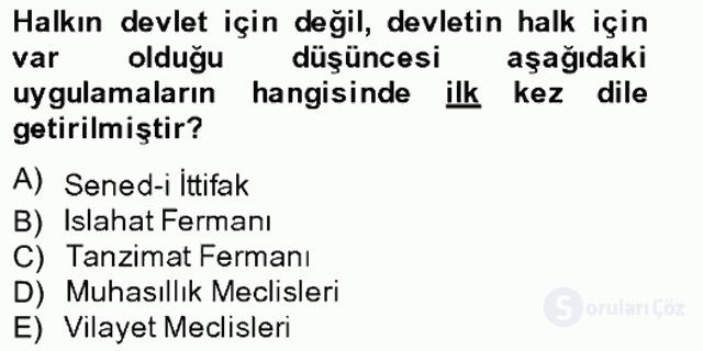 Atatürk İlkeleri ve İnkılap Tarihi I Tek Ders Sınavı 4. Soru