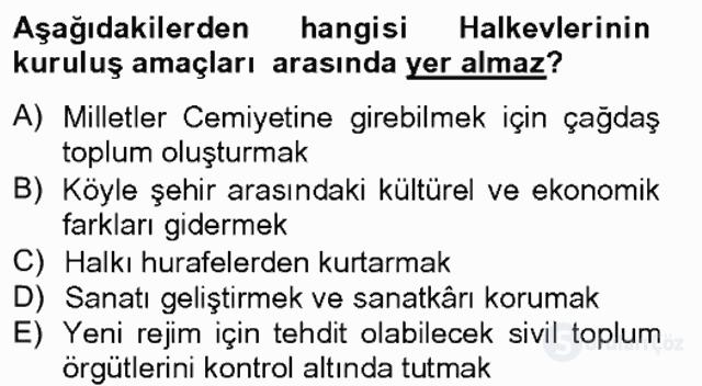 Atatürk İlkeleri ve İnkılap Tarihi II Tek Ders Sınavı 3. Soru