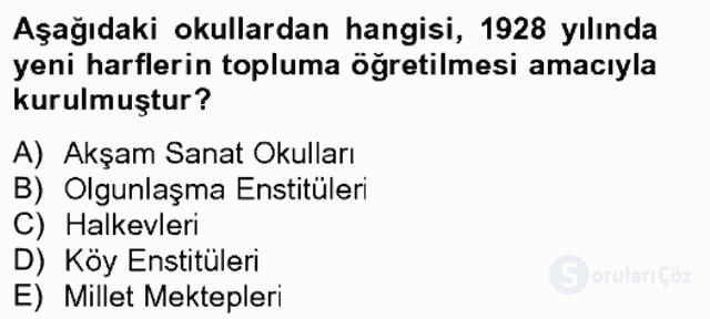 Atatürk İlkeleri ve İnkılap Tarihi II Tek Ders Sınavı 5. Soru