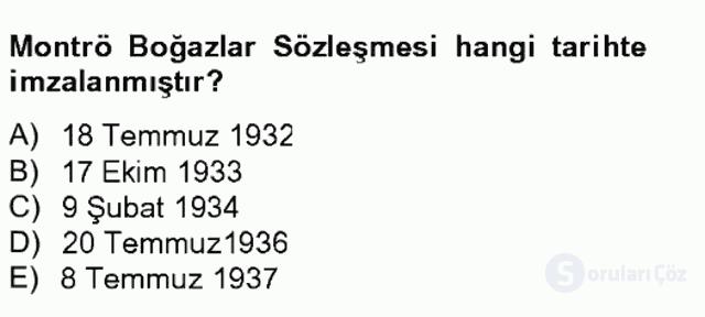 Atatürk İlkeleri ve İnkılap Tarihi II Tek Ders Sınavı 7. Soru