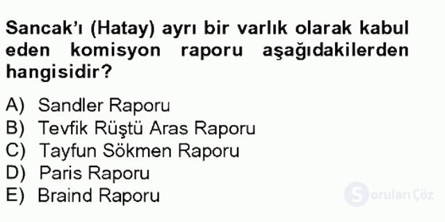 Atatürk İlkeleri ve İnkılap Tarihi II Tek Ders Sınavı 8. Soru