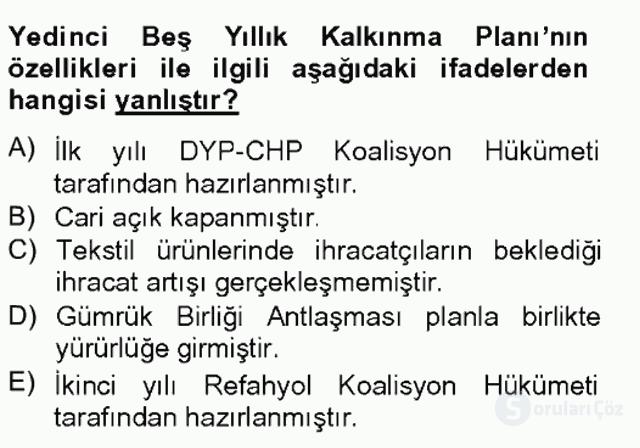 Atatürk İlkeleri ve İnkılap Tarihi II Tek Ders Sınavı 9. Soru