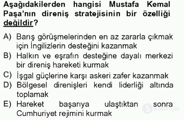 Türkiye Cumhuriyeti SiyasÎ Tarihi Tek Ders Sınavı 1. Soru