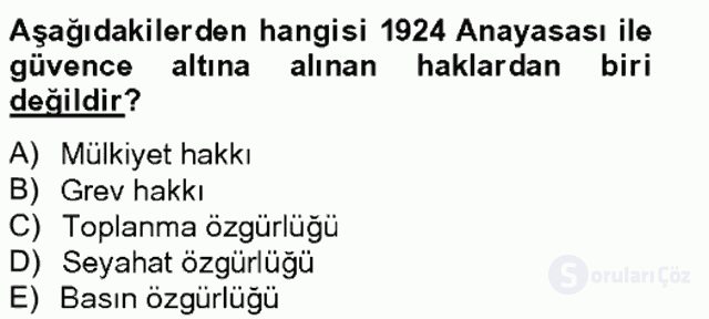 Türkiye Cumhuriyeti SiyasÎ Tarihi Tek Ders Sınavı 11. Soru