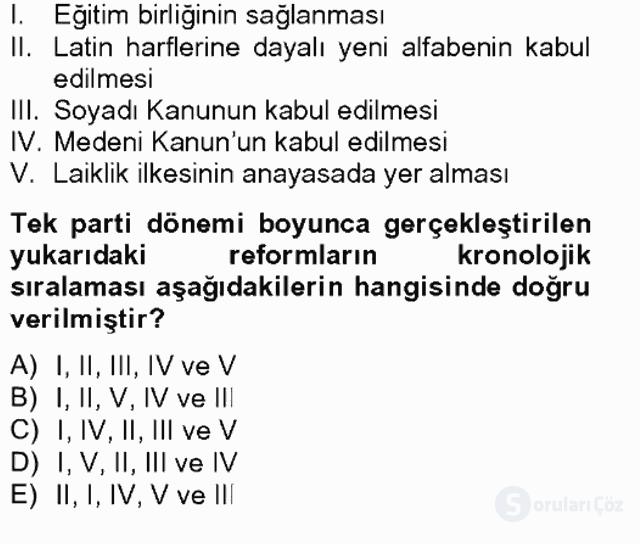 Türkiye Cumhuriyeti SiyasÎ Tarihi Tek Ders Sınavı 7. Soru