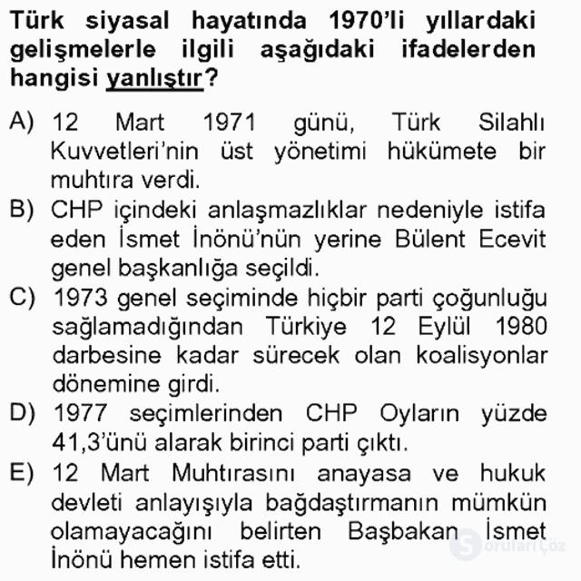 Türkiye Cumhuriyeti SiyasÎ Tarihi Tek Ders Sınavı 9. Soru