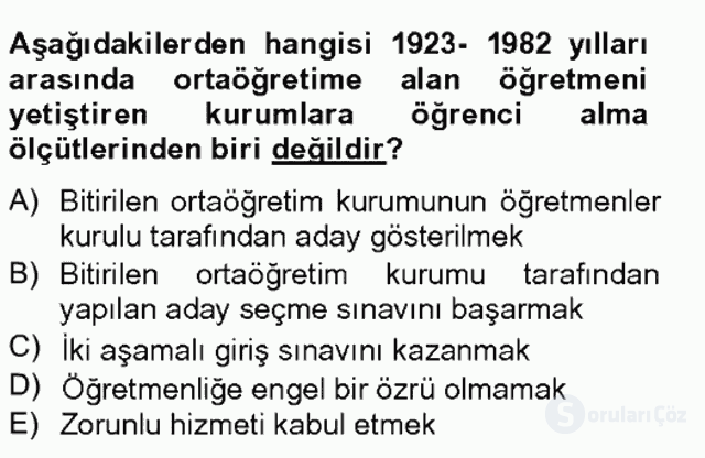 Türk Eğitim Tarihi Tek Ders Sınavı 13. Soru