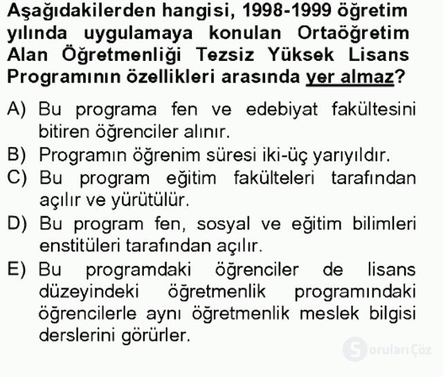 Türk Eğitim Tarihi Tek Ders Sınavı 14. Soru