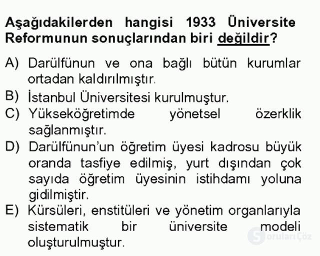 Türk Eğitim Tarihi Tek Ders Sınavı 15. Soru