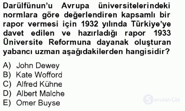 Türk Eğitim Tarihi Tek Ders Sınavı 16. Soru