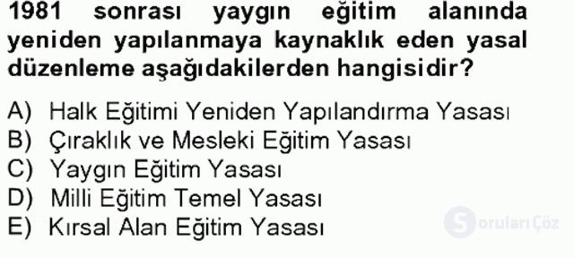 Türk Eğitim Tarihi Tek Ders Sınavı 20. Soru