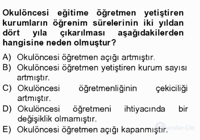 Türk Eğitim Tarihi Tek Ders Sınavı 5. Soru