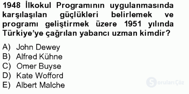 Türk Eğitim Tarihi Tek Ders Sınavı 6. Soru