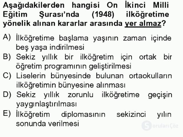 Türk Eğitim Tarihi Tek Ders Sınavı 8. Soru