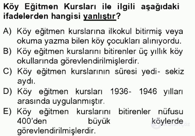 Türk Eğitim Tarihi Tek Ders Sınavı 9. Soru