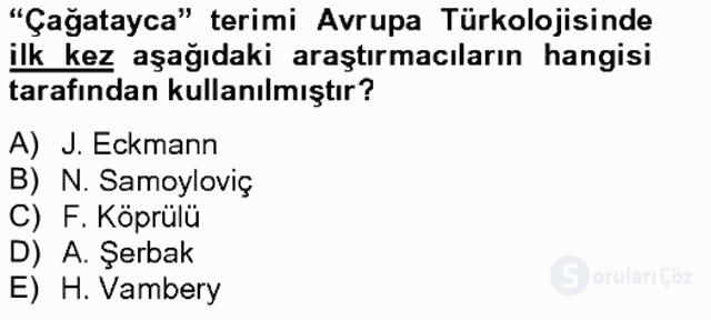XIV-XV. Yüzyıllar Türk Dili Tek Ders Sınavı 13. Soru