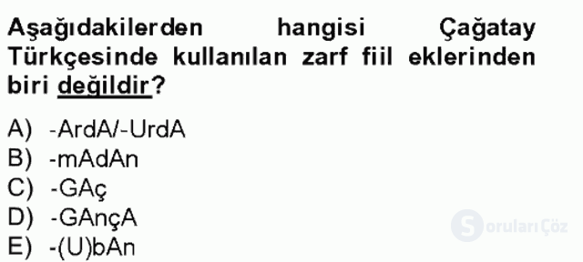 XIV-XV. Yüzyıllar Türk Dili Tek Ders Sınavı 14. Soru