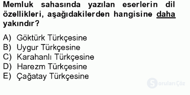 XIV-XV. Yüzyıllar Türk Dili Tek Ders Sınavı 16. Soru