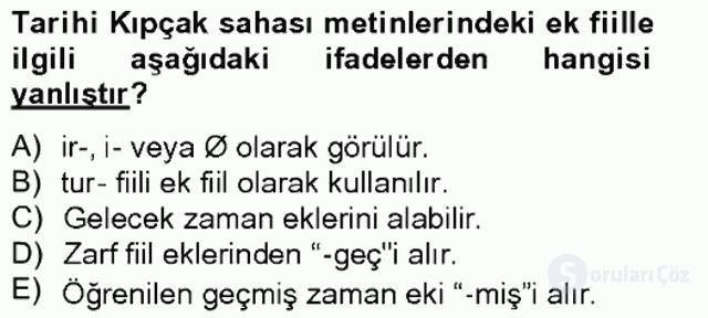 XIV-XV. Yüzyıllar Türk Dili Tek Ders Sınavı 18. Soru