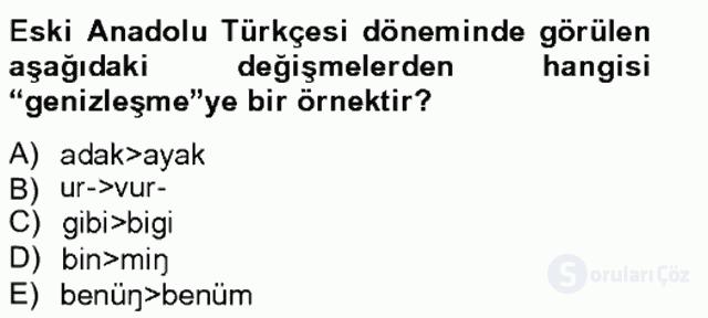 XIV-XV. Yüzyıllar Türk Dili Tek Ders Sınavı 7. Soru