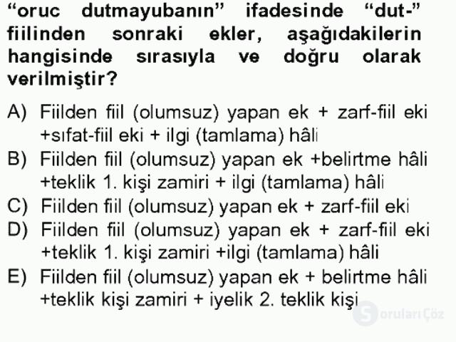 XIV-XV. Yüzyıllar Türk Dili Tek Ders Sınavı 9. Soru