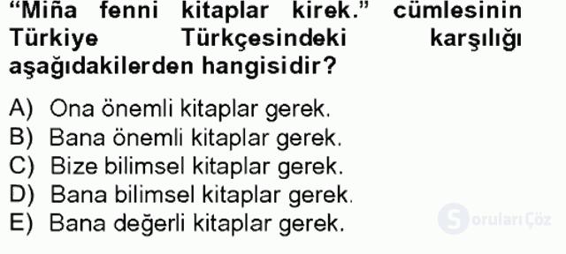 Çağdaş Türk Yazı Dilleri II Tek Ders Sınavı 13. Soru