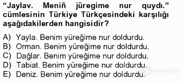 Çağdaş Türk Yazı Dilleri II Tek Ders Sınavı 15. Soru