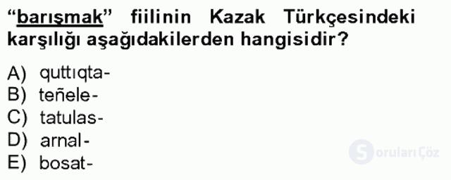 Çağdaş Türk Yazı Dilleri II Tek Ders Sınavı 16. Soru