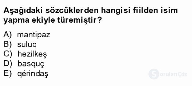 Çağdaş Türk Yazı Dilleri II Tek Ders Sınavı 2. Soru