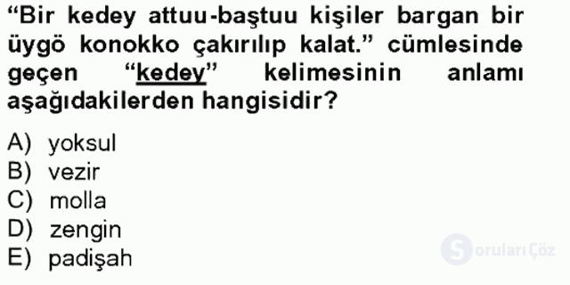 Çağdaş Türk Yazı Dilleri II Tek Ders Sınavı 20. Soru