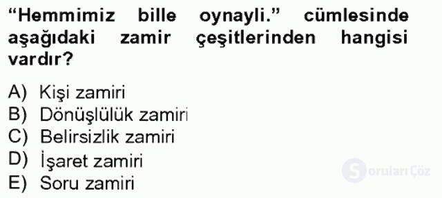 Çağdaş Türk Yazı Dilleri II Tek Ders Sınavı 3. Soru