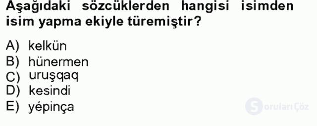 Çağdaş Türk Yazı Dilleri II Tek Ders Sınavı 4. Soru