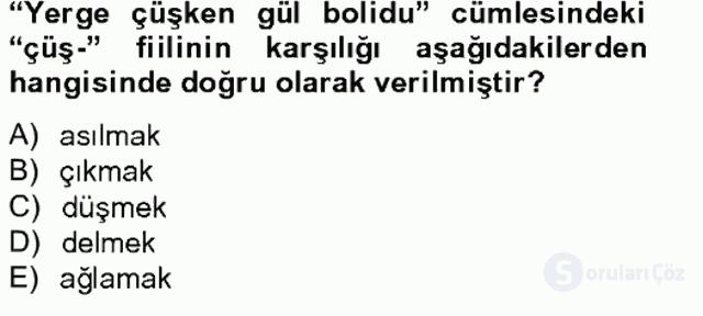 Çağdaş Türk Yazı Dilleri II Tek Ders Sınavı 7. Soru