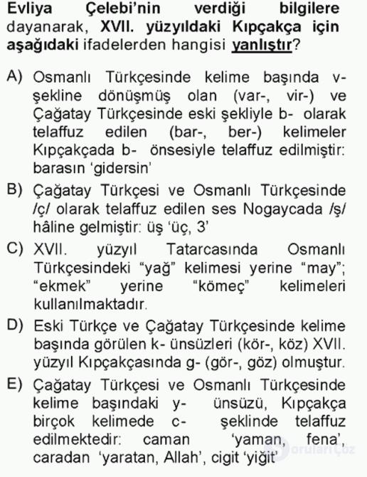 XVI-XIX. Yüzyıllar Türk Dili Tek Ders Sınavı 1. Soru