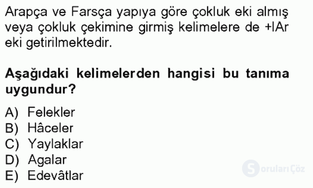 XVI-XIX. Yüzyıllar Türk Dili Tek Ders Sınavı 11. Soru