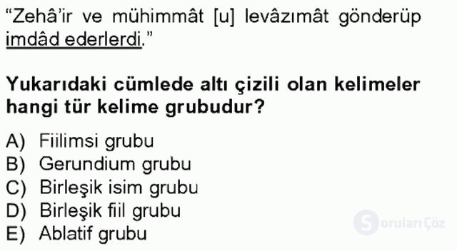 XVI-XIX. Yüzyıllar Türk Dili Tek Ders Sınavı 14. Soru