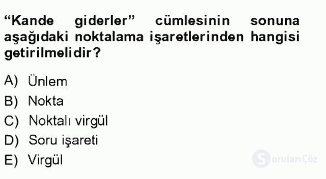 XVI-XIX. Yüzyıllar Türk Dili Tek Ders Sınavı 15. Soru