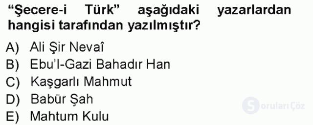 XVI-XIX. Yüzyıllar Türk Dili Tek Ders Sınavı 2. Soru