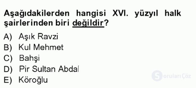 XVI-XIX. Yüzyıllar Türk Dili Tek Ders Sınavı 3. Soru