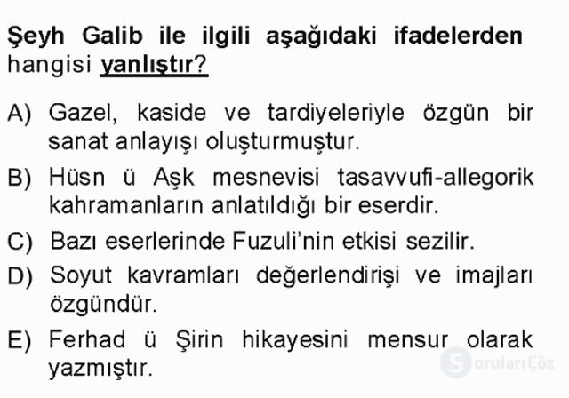 XVI-XIX. Yüzyıllar Türk Dili Tek Ders Sınavı 4. Soru