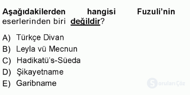 XVI-XIX. Yüzyıllar Türk Dili Tek Ders Sınavı 5. Soru